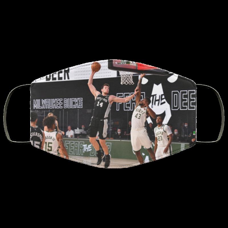 Drew Eubanks dunking Thanasis Antetokounmpo face mask Spurs