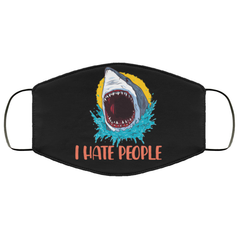 I hate people shark face mask black