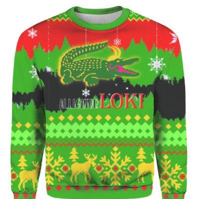 Alligator Loki ugly christmas sweater