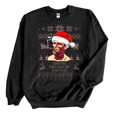Black Sweatshirt Arnold Schwarzenegger Santa You Son Of A Bitch Ugly Christmas Sweater