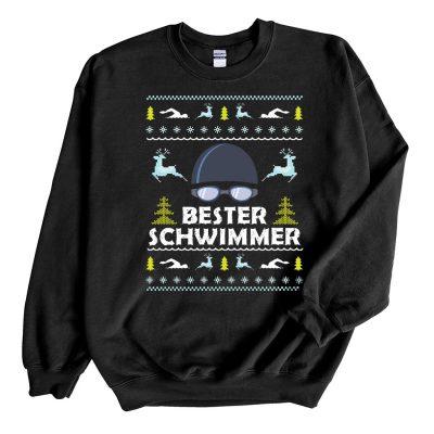 Black Sweatshirt Bester Schwimmer Ugly Christmas Sweater