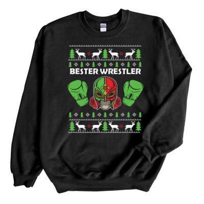 Black Sweatshirt Bester Wrestler Ugly Christmas Sweater
