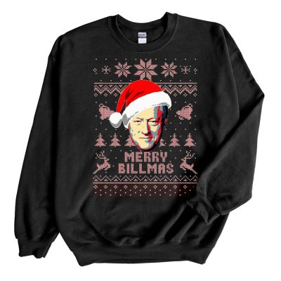 Black Sweatshirt Bill Clinton Merry Billmas Ugly Christmas Sweater