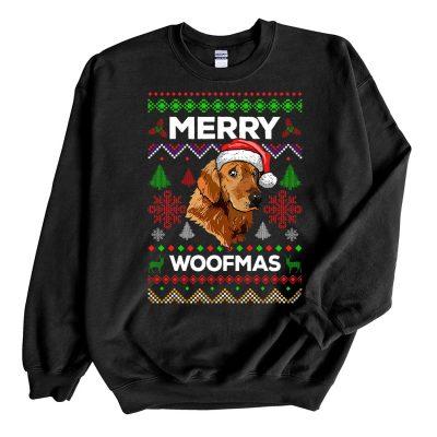 Black Sweatshirt Golden Retriever Merry Woofmas Ugly Christmas Sweater