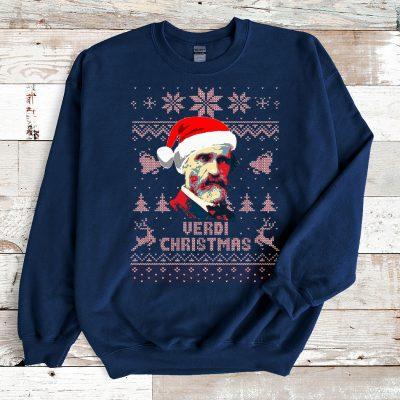 Navy Sweatshirt Giuseppe Verdi Christmas Ugly Christmas Sweater