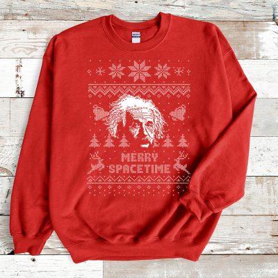 Red Sweatshirt Albert Einstein Merry Spacetime Ugly Christmas Sweater